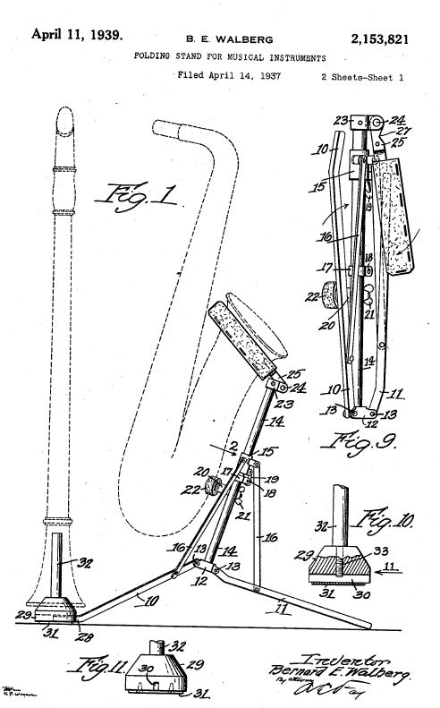 Patent US2153821 - Folding stand for musical instruments.JPG