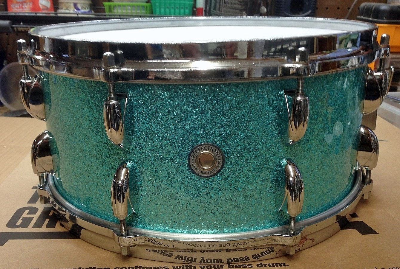1962 Walberg and Auge Snare Drum Turquoise Sparkle.jpg